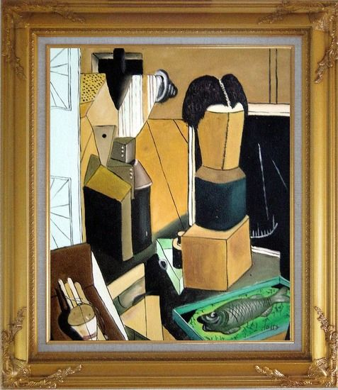 Framed La camera incantata, Carlo Carra Reproduction Oil Painting Nonobjective Modern Cubism Gold Wood Frame with Deco Corners 31 x 27 Inches