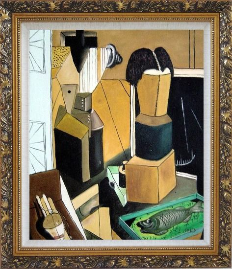 Framed La camera incantata, Carlo Carra Reproduction Oil Painting Nonobjective Modern Cubism Ornate Antique Dark Gold Wood Frame 30 x 26 Inches