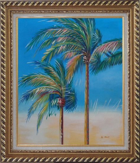 Framed Palm Trees in Tropical Storm Oil Painting Seascape Naturalism Exquisite Gold Wood Frame 30 x 26 Inches