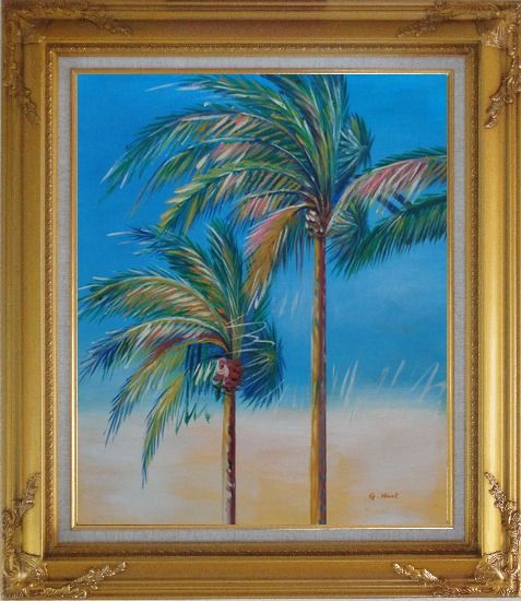 Framed Palm Trees in Tropical Storm Oil Painting Seascape Naturalism Gold Wood Frame with Deco Corners 31 x 27 Inches