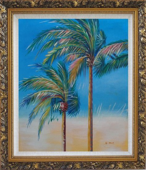 Framed Palm Trees in Tropical Storm Oil Painting Seascape Naturalism Ornate Antique Dark Gold Wood Frame 30 x 26 Inches