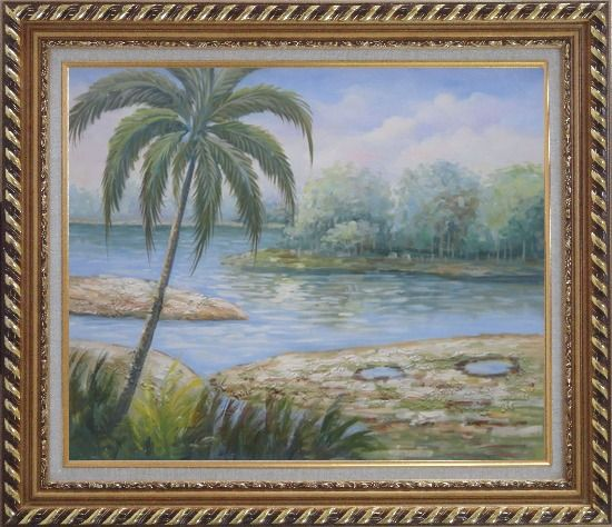 Framed Pond Side Palm Tree Oil Painting Landscape River Naturalism Exquisite Gold Wood Frame 26 x 30 Inches