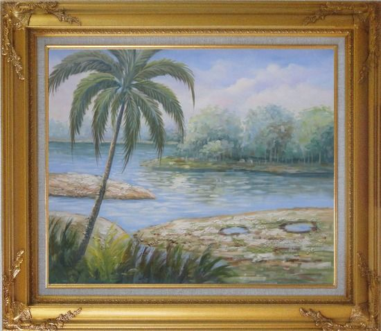Framed Pond Side Palm Tree Oil Painting Landscape River Naturalism Gold Wood Frame with Deco Corners 27 x 31 Inches
