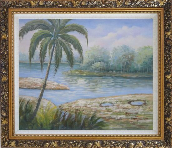 Framed Pond Side Palm Tree Oil Painting Landscape River Naturalism Ornate Antique Dark Gold Wood Frame 26 x 30 Inches