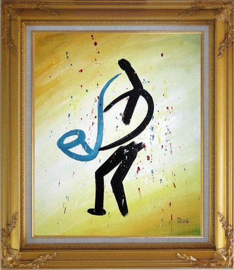 Framed A Sax Player, Modern Oil Painting Portraits Musician Gold Wood Frame with Deco Corners 31 x 27 Inches