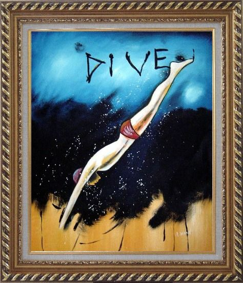 Framed Diving, Modern Pop Art Oil Painting Portraits Exquisite Gold Wood Frame 30 x 26 Inches