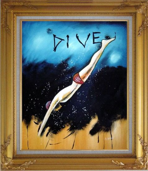 Framed Diving, Modern Pop Art Oil Painting Portraits Gold Wood Frame with Deco Corners 31 x 27 Inches