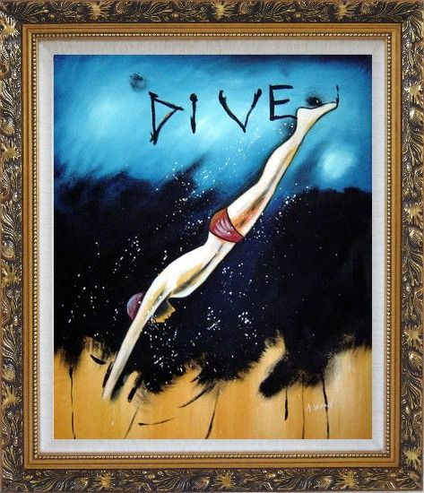Framed Diving, Modern Pop Art Oil Painting Portraits Ornate Antique Dark Gold Wood Frame 30 x 26 Inches
