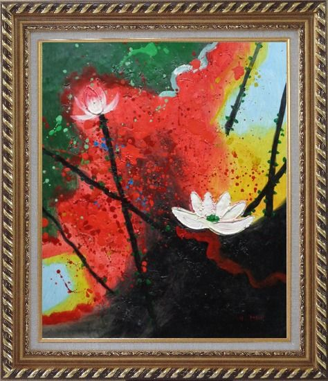 Framed White Lotus in Green, Red and Black Setting Oil Painting Flower Asian Exquisite Gold Wood Frame 30 x 26 Inches