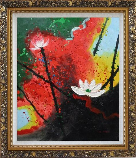 Framed White Lotus in Green, Red and Black Setting Oil Painting Flower Asian Ornate Antique Dark Gold Wood Frame 30 x 26 Inches