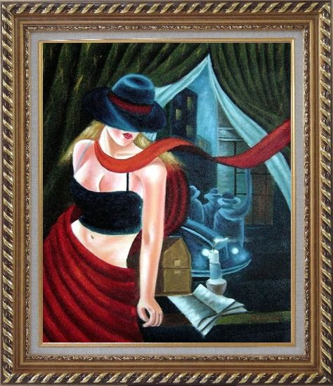 Framed Girl by the Window Pop Art Oil Painting Portraits Woman Modern Exquisite Gold Wood Frame 30 x 26 Inches