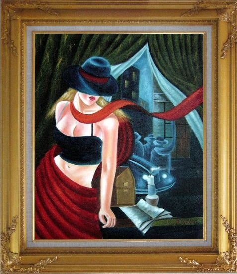 Framed Girl by the Window Pop Art Oil Painting Portraits Woman Modern Gold Wood Frame with Deco Corners 31 x 27 Inches