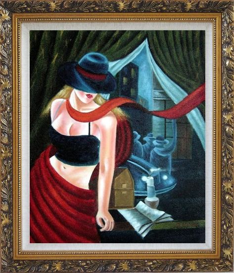 Framed Girl by the Window Pop Art Oil Painting Portraits Woman Modern Ornate Antique Dark Gold Wood Frame 30 x 26 Inches