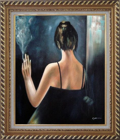 Framed Back of Smoking Lady with Evening Dress Oil Painting Portraits Woman Impressionism Exquisite Gold Wood Frame 30 x 26 Inches