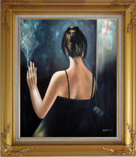 Framed Back of Smoking Lady with Evening Dress Oil Painting Portraits Woman Impressionism Gold Wood Frame with Deco Corners 31 x 27 Inches