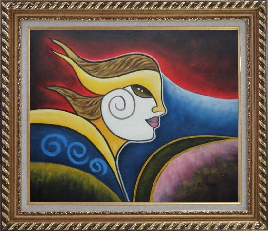 Framed Girl Face in Wind Oil Painting Portraits Woman Modern Cubism Exquisite Gold Wood Frame 26 x 30 Inches