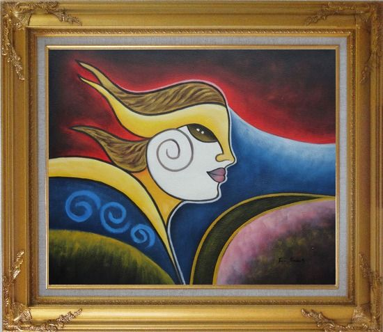 Framed Girl Face in Wind Oil Painting Portraits Woman Modern Cubism Gold Wood Frame with Deco Corners 27 x 31 Inches