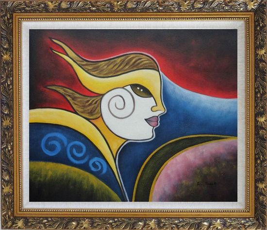 Framed Girl Face in Wind Oil Painting Portraits Woman Modern Cubism Ornate Antique Dark Gold Wood Frame 26 x 30 Inches