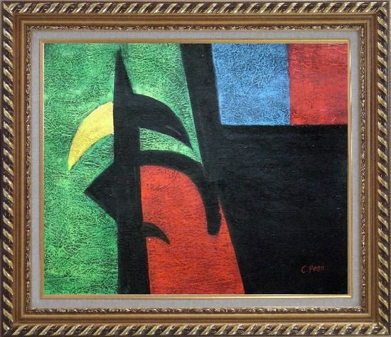 Framed Black, Green, Red, Blue, Yellow Oil Painting Nonobjective Modern Exquisite Gold Wood Frame 26 x 30 Inches