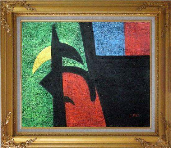 Framed Black, Green, Red, Blue, Yellow Oil Painting Nonobjective Modern Gold Wood Frame with Deco Corners 27 x 31 Inches