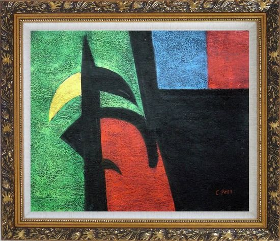 Framed Black, Green, Red, Blue, Yellow Oil Painting Nonobjective Modern Ornate Antique Dark Gold Wood Frame 26 x 30 Inches