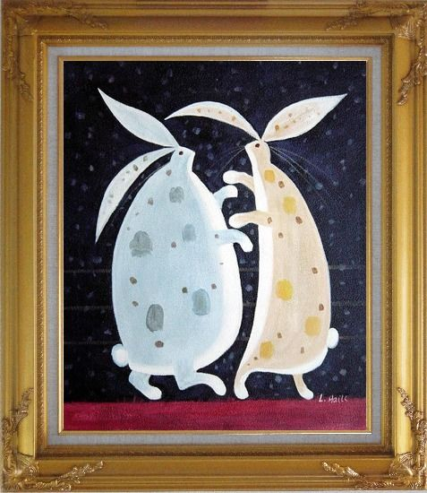 Framed Dancing Rabbits Oil Painting Animal Modern Gold Wood Frame with Deco Corners 31 x 27 Inches