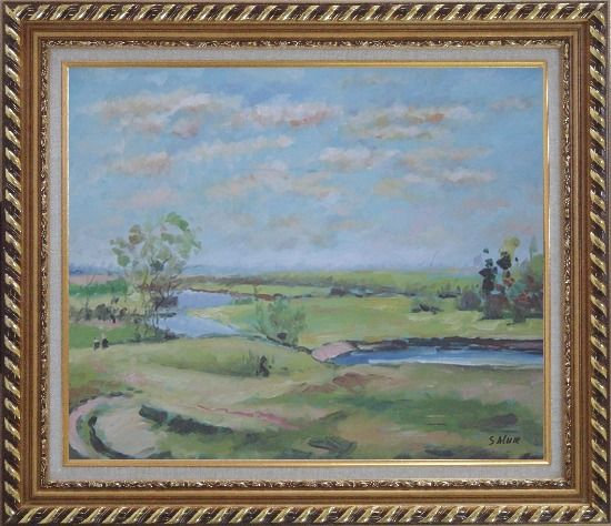 Framed By the Pond Oil Painting Landscape River Impressionism Exquisite Gold Wood Frame 26 x 30 Inches