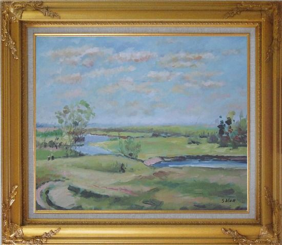 Framed By the Pond Oil Painting Landscape River Impressionism Gold Wood Frame with Deco Corners 27 x 31 Inches