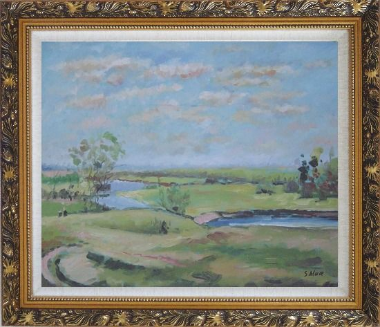 Framed By the Pond Oil Painting Landscape River Impressionism Ornate Antique Dark Gold Wood Frame 26 x 30 Inches