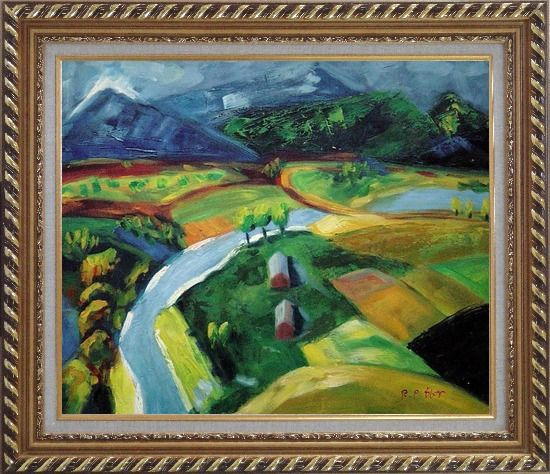 Framed River Pass through Village Oil Painting Landscape Impressionism Exquisite Gold Wood Frame 26 x 30 Inches