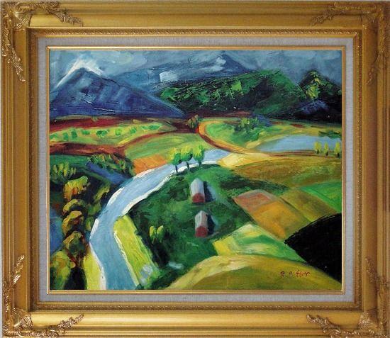 Framed River Pass through Village Oil Painting Landscape Impressionism Gold Wood Frame with Deco Corners 27 x 31 Inches
