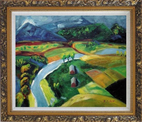 Framed River Pass through Village Oil Painting Landscape Impressionism Ornate Antique Dark Gold Wood Frame 26 x 30 Inches