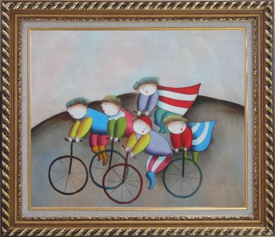 Framed Cycling Circus Oil Painting Portraits Modern Exquisite Gold Wood Frame 26 x 30 Inches