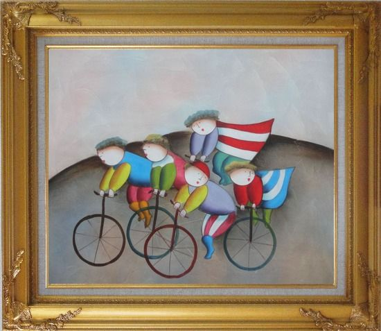 Framed Cycling Circus Oil Painting Portraits Modern Gold Wood Frame with Deco Corners 27 x 31 Inches