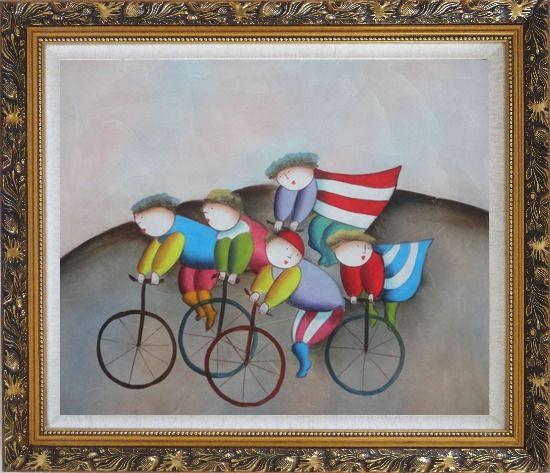 Framed Cycling Circus Oil Painting Portraits Modern Ornate Antique Dark Gold Wood Frame 26 x 30 Inches