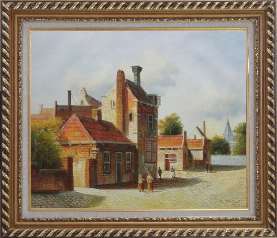 Framed Holland Village Street Scene With Idle People Oil Painting Classic Exquisite Gold Wood Frame 26 x 30 Inches