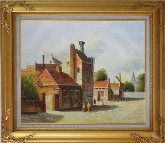 Framed Holland Village Street Scene With Idle People Oil Painting Classic Gold Wood Frame with Deco Corners 27 x 31 Inches