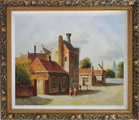 Framed Holland Village Street Scene With Idle People Oil Painting Classic Ornate Antique Dark Gold Wood Frame 26 x 30 Inches