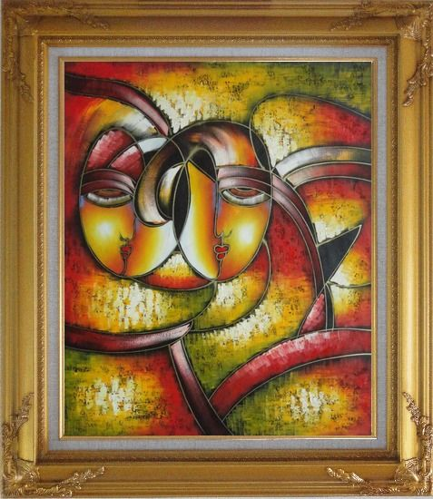 Framed Faces, Picasso Reproduction Oil Painting Portraits Modern Cubism Gold Wood Frame with Deco Corners 31 x 27 Inches