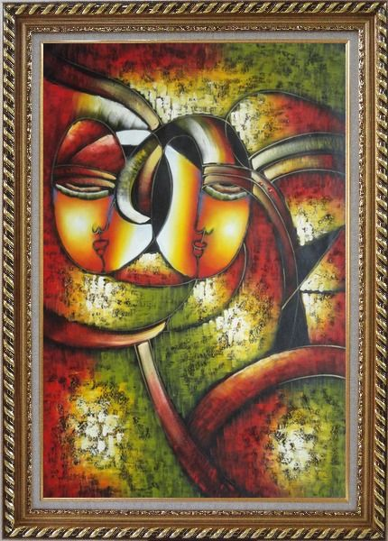 Framed Faces, Picasso Reproduction Oil Painting Portraits Modern Cubism Exquisite Gold Wood Frame 42 x 30 Inches