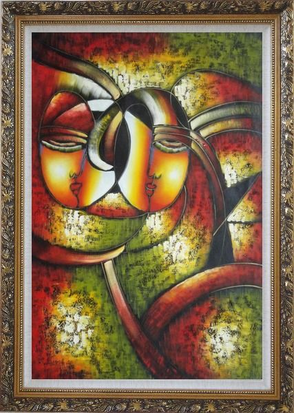 Framed Faces, Picasso Reproduction Oil Painting Portraits Modern Cubism Ornate Antique Dark Gold Wood Frame 42 x 30 Inches
