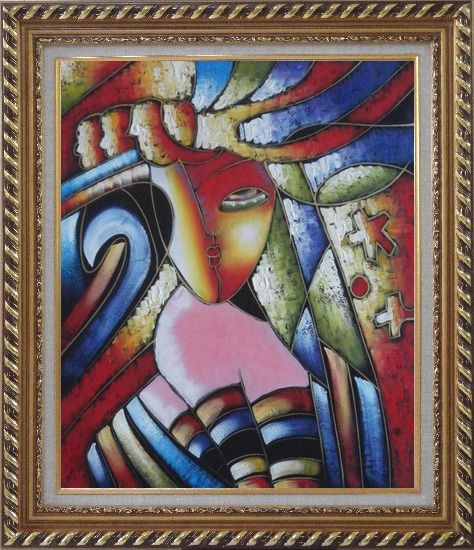 Framed Beautiful Girl, Picasso Replica Oil Painting Portraits Woman Modern Cubism Exquisite Gold Wood Frame 30 x 26 Inches