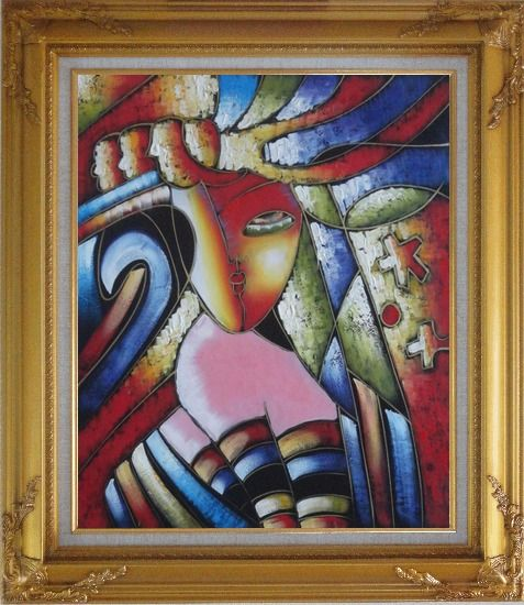 Framed Beautiful Girl, Picasso Replica Oil Painting Portraits Woman Modern Cubism Gold Wood Frame with Deco Corners 31 x 27 Inches