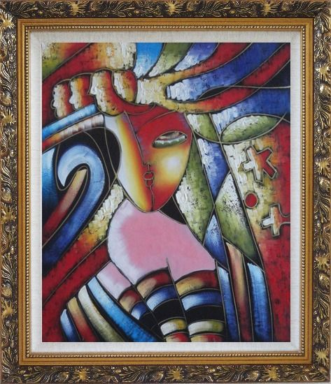 Framed Beautiful Girl, Picasso Replica Oil Painting Portraits Woman Modern Cubism Ornate Antique Dark Gold Wood Frame 30 x 26 Inches