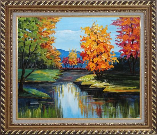 Framed Colorful Trees Along the River Oil Painting Landscape Impressionism Exquisite Gold Wood Frame 26 x 30 Inches