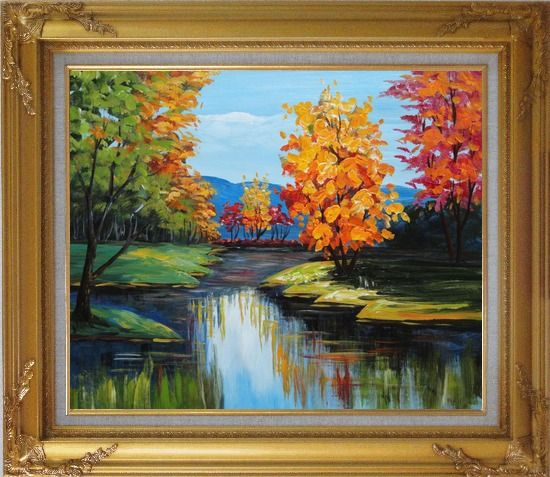 Framed Colorful Trees Along the River Oil Painting Landscape Impressionism Gold Wood Frame with Deco Corners 27 x 31 Inches