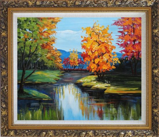 Framed Colorful Trees Along the River Oil Painting Landscape Impressionism Ornate Antique Dark Gold Wood Frame 26 x 30 Inches
