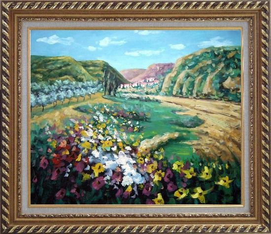 Framed Poppies Valley Oil Painting Landscape Impressionism Exquisite Gold Wood Frame 26 x 30 Inches