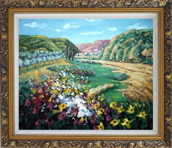 Framed Poppies Valley Oil Painting Landscape Impressionism Ornate Antique Dark Gold Wood Frame 26 x 30 Inches