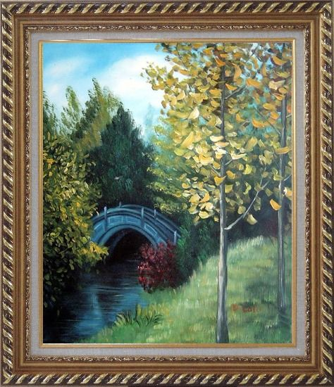 Framed River Bridge under Aspen Trees Oil Painting Garden Impressionism Exquisite Gold Wood Frame 30 x 26 Inches